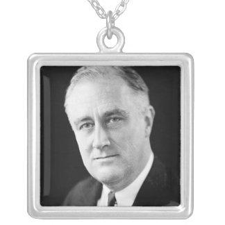 Franklin Delano Roosevelt Silver Plated Necklace