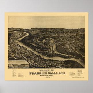 Franklin, mapa panorámico del NH - 1884 Póster