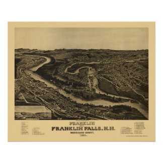 Franklin, NH Panoramic Map - 1884 Poster