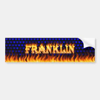 Franklin real fire and flames bumper sticker desig