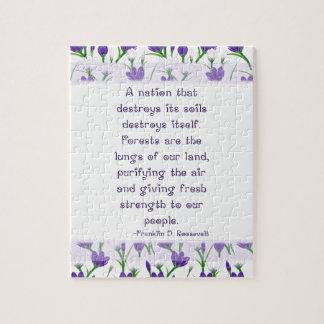Franklin Roosevelt Quote- Spring Crocus Flowers Puzzles