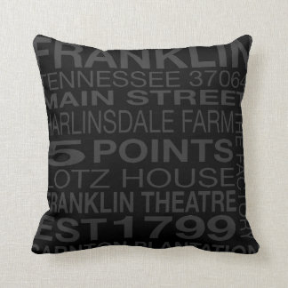 Franklin Tennessee Pillow in Black and Gray