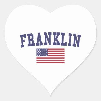 Franklin WI US Flag Heart Sticker