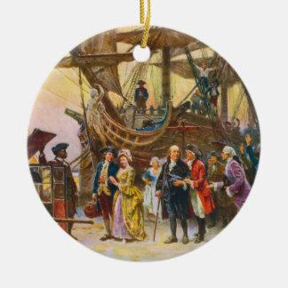 Franklin's Return to Philadelphia by Jean Ferris Double-Sided Ceramic Round Christmas Ornament