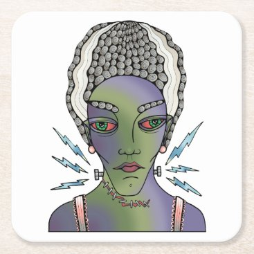 Halloween Themed Franks Bride Square Paper Coaster
