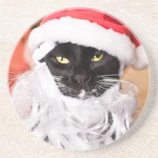 Franny Claus Sad Santa Kitty Coasters