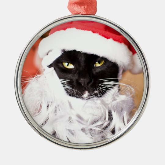 Franny Claus Sad Santa Kitty Metal Ornament