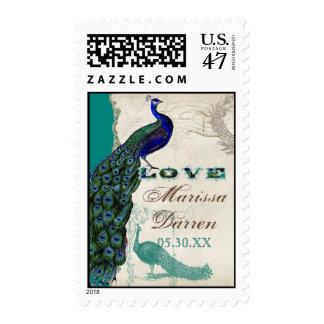 Franqueo a juego - amor del pavo real 5 del timbre postal