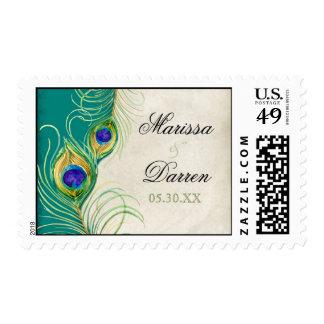 Franqueo a juego - el pavo real empluma amor del timbre postal