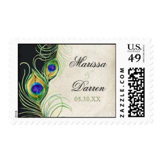 Franqueo a juego - el pavo real empluma amor del timbres postales