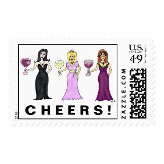 Franqueo adaptable de las mujeres del vino sellos postales