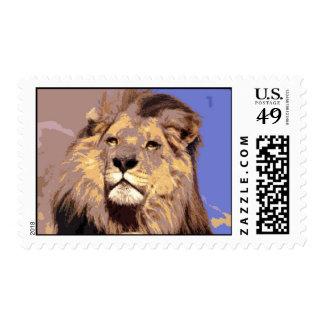 Franqueo africano del león sello