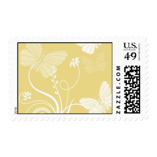 Franqueo amarillo de las mariposas timbres postales