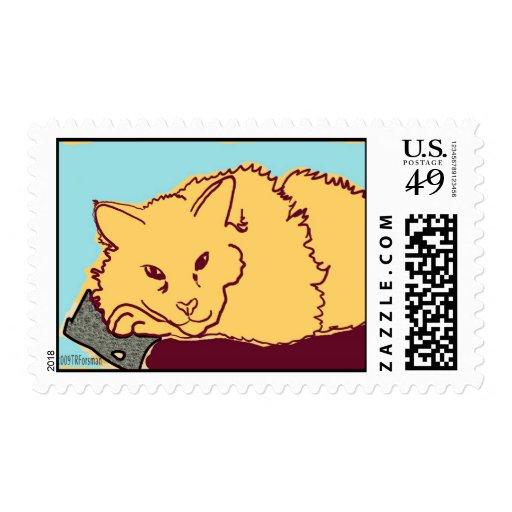 franqueo amarillo del gato timbres postales