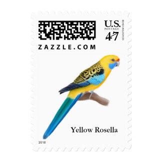 Franqueo amarillo del loro de Rosella Sellos Postales