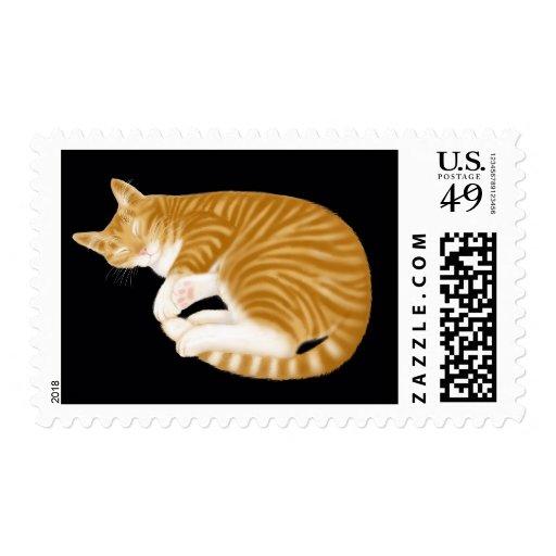 Franqueo anaranjado del gato de Tabby el dormir Sello Postal