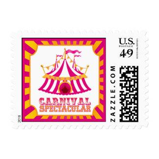 Franqueo anaranjado y rosado del carnaval timbres postales