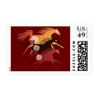 Franqueo antiguo de tres caballos sello