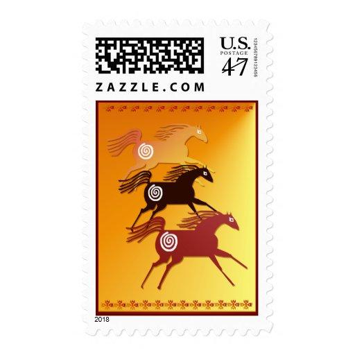 Franqueo antiguo de tres caballos sellos