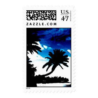 Franqueo azul blanco de las palmeras del negro del timbres postales