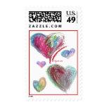 Franqueo azul de 5 corazones de la tarjeta del día