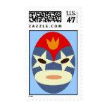 Franqueo azul de la máscara de Lucha Libre Sellos Postales