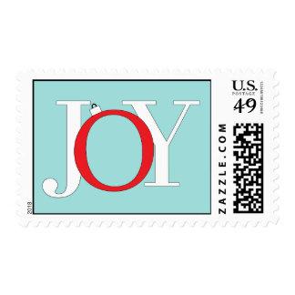 Franqueo azul de la postal de la alegría