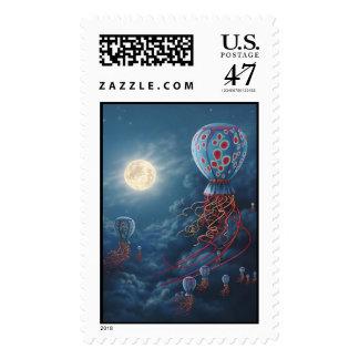 Franqueo azul de los flotadores sello postal