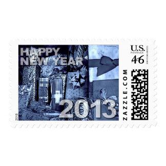 Franqueo azul de los regalos de la Feliz Año Nuevo