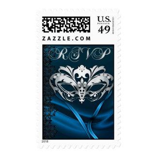 Franqueo azul de RSVP de la mascarada de plata