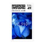 Franqueo azul de RSVP de los rosas