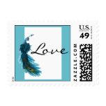 Franqueo azul del boda del penacho del pavo real d
