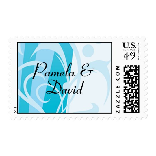 Franqueo azul del boda del remolino timbres postales