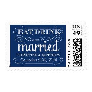 Franqueo azul del boda del vintage del zafiro rúst sellos postales