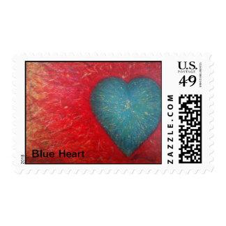 Franqueo azul del corazón