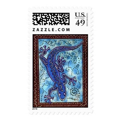 Franqueo azul del Gecko