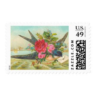 Franqueo azul del pájaro del vintage sellos postales