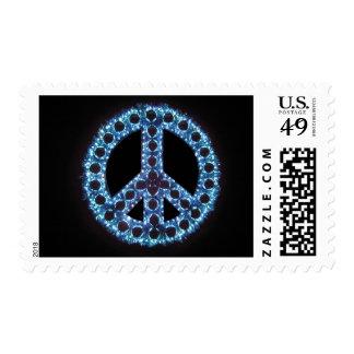 franqueo azul del signo de la paz