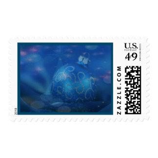 Franqueo azul doblado del navidad del ornamento estampilla