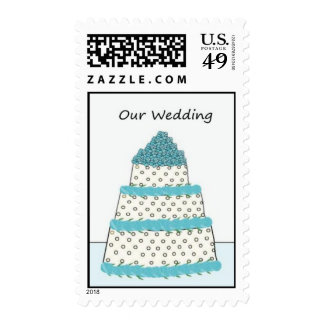 Franqueo azul y blanco del pastel de bodas