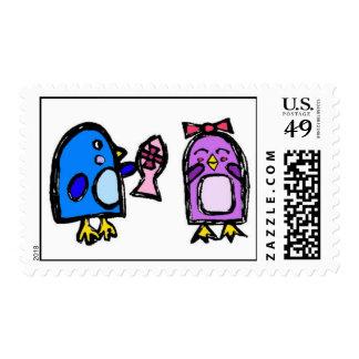 Franqueo azul y risitas el pingüino