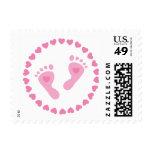 Franqueo: Babyfeet rosado en un círculo de corazon