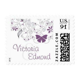 Franqueo banal púrpura del boda de la mariposa