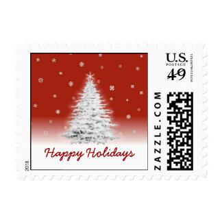 Franqueo blanco del árbol de navidad