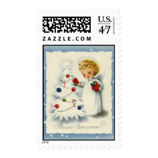 Franqueo blanco del árbol del navidad del sello postal