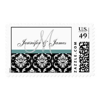 Franqueo blanco del monograma del boda del damasco sellos postales