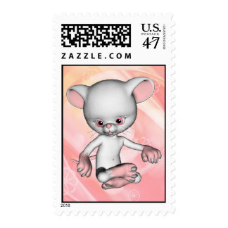 Franqueo blanco lindo del ratón timbres postales