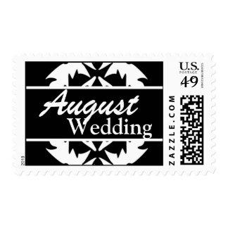 Franqueo blanco y negro del boda de agosto del per