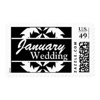 Franqueo blanco y negro del boda de enero del pers
