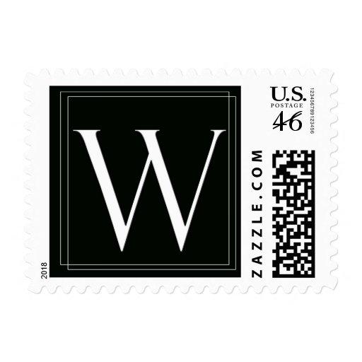 Franqueo blanco y negro elegante del monograma W